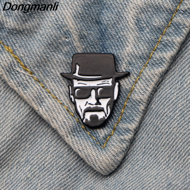 DMLSKY fashion men Brooch Walter White metal Enamel Pins For Men Backpack Badge Bag Collar Pin Accessories M2782 image