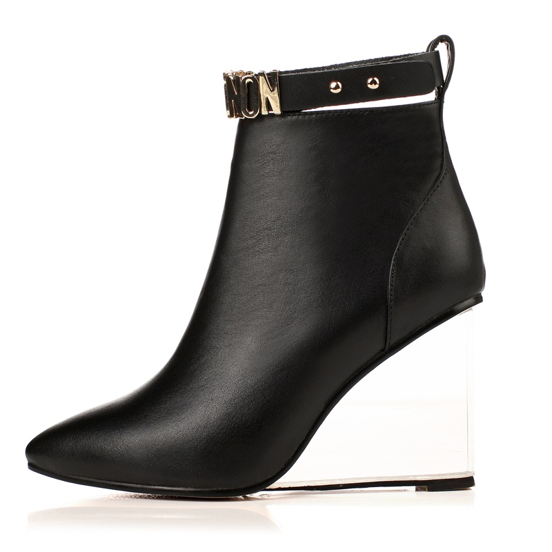 EGONERY women shoes crystal heel ankle boots side zipper sequined riding equestrian boots pointed toe metal buckles shoes 6