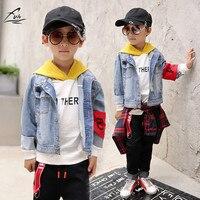 FYH Kids Clothing Spring Autumn Boys Denim Jacket Children Stylish Denim Outwear Coat School Boys Turn