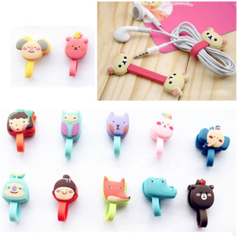 New Arrivals Convenient Animal Cartoon Earphone Winder Cable Cord Organizer Holder For Phone