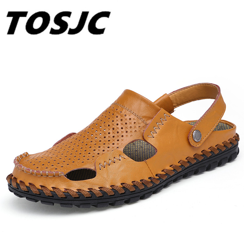 TOSJC 2018 New Men Sandals Leather Summer Breathable Shoes Men Slippers Outdoor Walking Casual Non-slip Beach Sandal Shoes