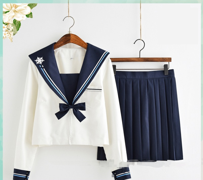 Japanese school uniforms anime sailor embroidery suit tops+tie+skirt JK Navy style Students clothes for Girl Long/short sleeve