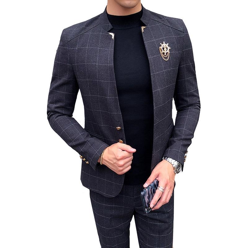 Suit 2 Piece Set (Coat + Pants) Fashion British Lattice Slim Collar Collar Fashion Casual Suit / Male Plus Size Boutique Blazer