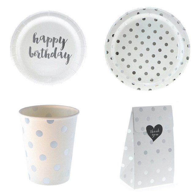 24pcs/lot Birthday Party Disposable Plates and Cups Candy Boxes Decorative Paper Dinnerware Set Tablewares Favor Holders