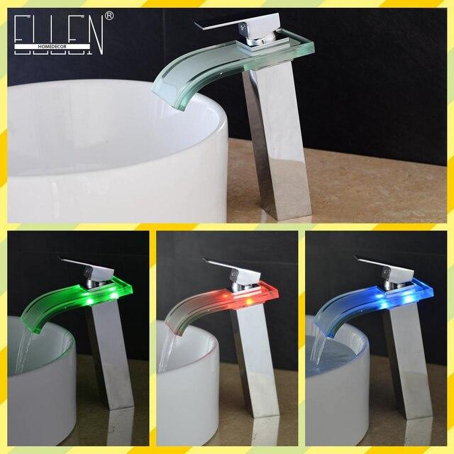 Led Badezimmer Wasserhahn Hohe Wasserfall Glas Becken Waschbecken