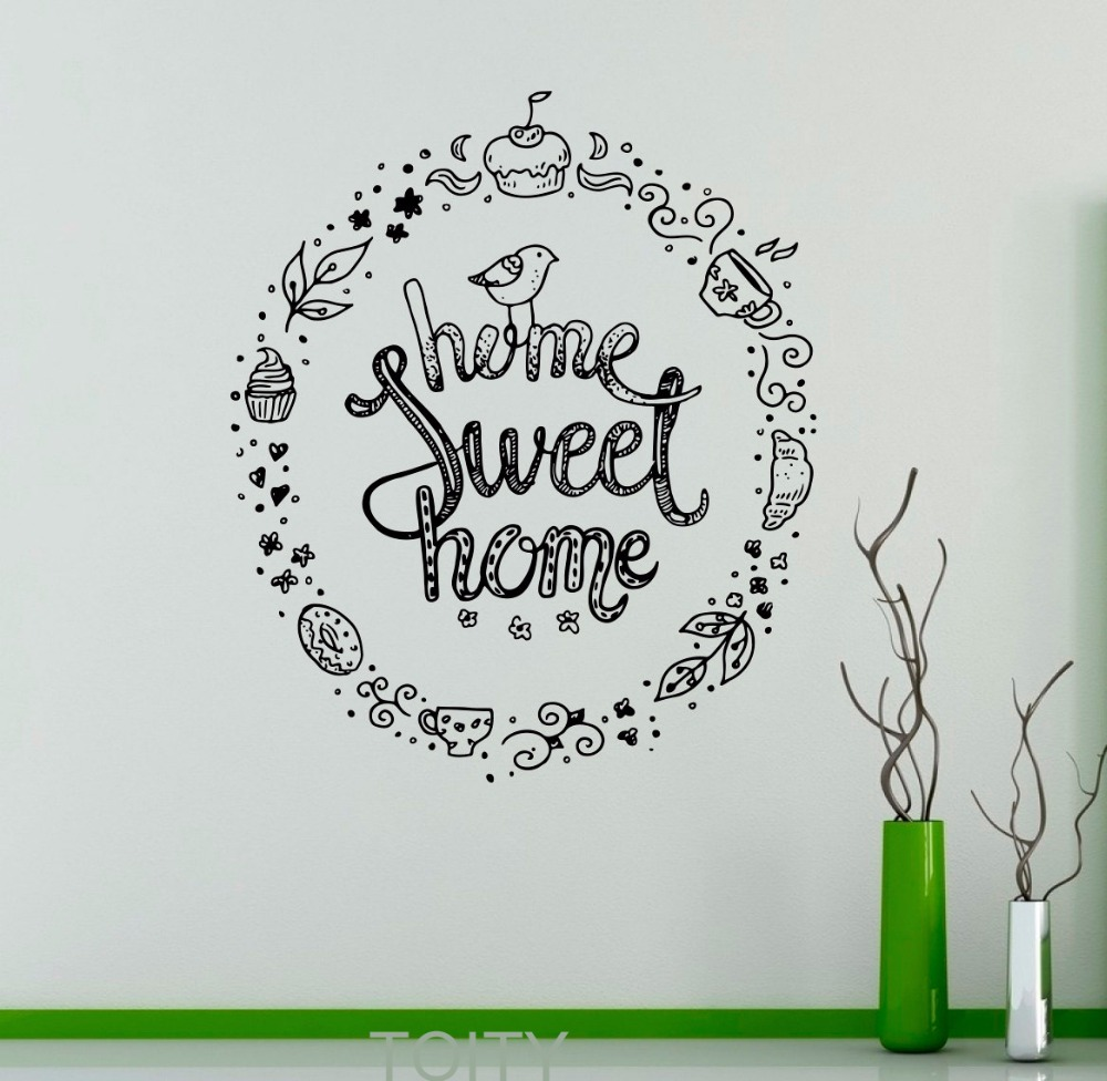 Home Sweet Home Wandtattoo Zitat Sprüche Vinyl Aufkleber Kindergarten Zitat  Home Interior Nette Decor Wandbild Haushaltswaren In Home Sweet Home  Wandtattoo ...