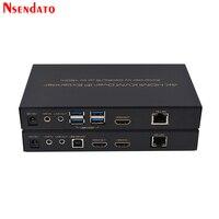 150 м/500ft HDMI 4 K KVM Over IP Extender Cat5e/Cat6 для 1080 P Мышь клавиатуры 4 K 30 Гц HDMI приемник передатчик KVM RS232 Extender