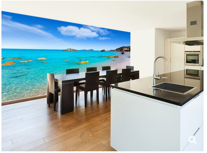 Custom natural scenery wallpaper,Ibiza Beach,3D photo mural for the living room restaurant store background wall PVC wallpaper managing the store