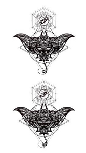 Waterproof Temporary Fake Tattoo Stickers Unique Grey Geometric Bat Design Body Art Make Up Tools