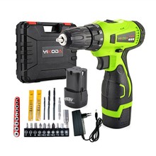 купить 16.8V Household Cordless Drill Rechargeable Electric Screwdriver Double Speed Power Tools Two Battery Plastic Case Accessory дешево