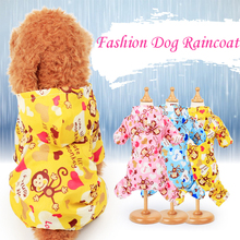 Cute Monkey Puppy Dog Raincoat for Small Dogs Breathable Mesh Lining Pet Rainwear Clothes Outdoor Waterproof Doggy Outfits XS-XL