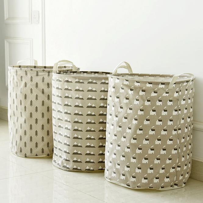 new large linen cotton glove box storage basket bra clothes bag cotton linen handles wash necktie socks organizer laundry basket