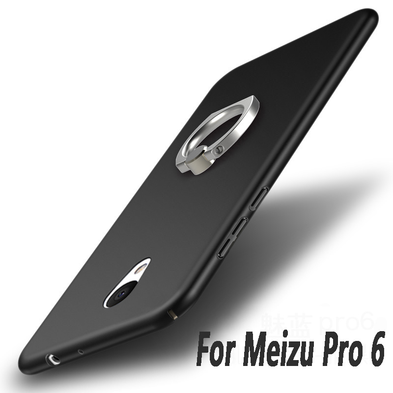 Meizu pro 6 case Luxury Hard matte Frosted PC Back Cover 360 Full Protection back cover case Meizu pro6 mobile phone bags + ring