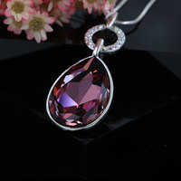 Shiny Big Austrian Crystal Water Drop Pendant Necklace Rhodium Plated Snake Chain Statement Jewelry