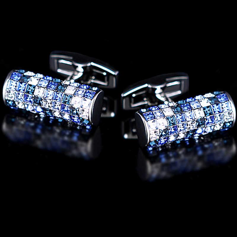 KFLK 2019 Luxo Nova camisa abotoaduras para mens Marca botões de punho Áustria abotoaduras de Cristal Azul e Branco de Alta Qualidade jóias