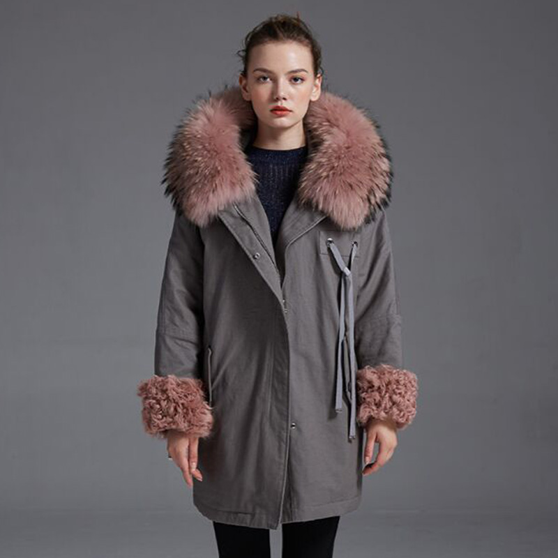Large Real Natural Raccoon Fur 2018 Winter Jacket Women Loose Big Size Women Coat White Duck Down Jacket Thick Warm Women Parkas