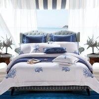 Набор постельного белья из египетского хлопка, белый вышитый набор постельного белья для гостиницы, пододеяльник, набор пододеяльников, на...