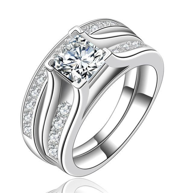 H:HYDE Silver Color Wedding Ring Sets for women bridal luxury rings vintage bagu