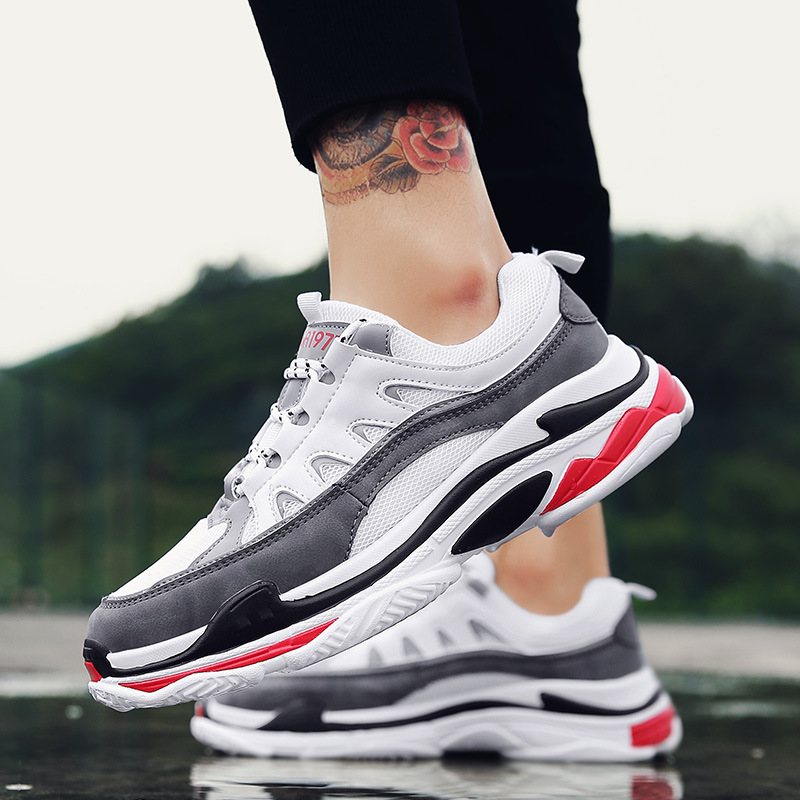 Homens Chunky photo Cor Nova Plana Adulto Elegante Color Respirável 2019 Com Sneakers Tenis Calçado Photo Lace Sapatos Plataforma Casuais Masculino up Color Misturada qE4xSn1w5