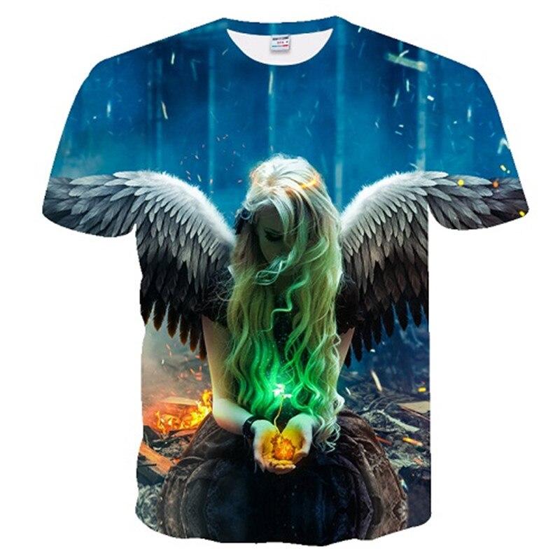 2018 men t shirt Spirit Anime Water 3d Angel print T Shirt Unisex-Adult Hipster 3D T Shirts Street Hip Hop t-shirt Tops Tees