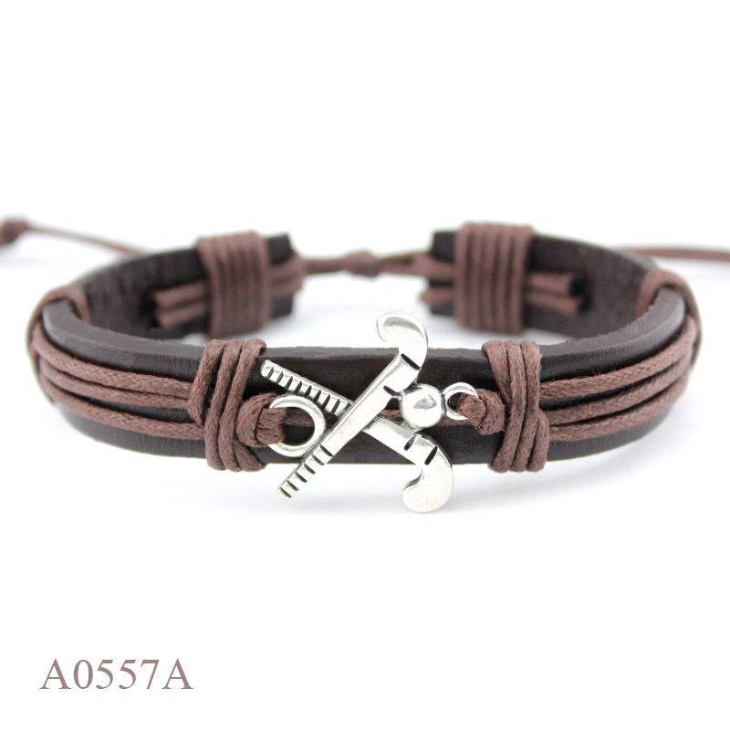 (10PCS/lot) ANTIQUE SILVER Hockey Sports CHARM Adjustable Leather Cuff Bracelet PUNK Casual Friendship GIFTS Jewelry