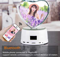 Персонализированный светодиодный светильник для фотосъемки, деревянная основа, кристальная фотография, MP3 музыка, поворотный дисплей, ...