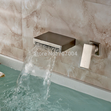 Wall Mounted Waterfall Spout Single Handle Bathroom Sink Faucet Brushed Nickel Two Holes Basin Mixer Taps