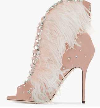 Femmes Rose Plume Bottines Ornée de Cristaux Peep Toe à lacets Court Bootie Mince Talons Gladiateur Sandales Bottes Livraison gratuite