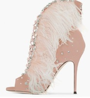 Women Pink Feather Ankle Boots Crystal Embellished Peep Toe Lace up Short Bootie Thin Heels Gladiator Sandals Boots Free Ship