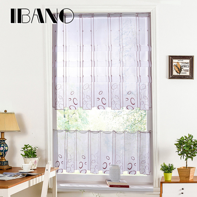 Half Curtain Embroidery Striped Window Valance Customize Coffee Roman Panel Drape For Kitchen Cabinet
