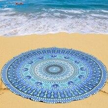 Ouneed belleza gasa azul fondos de pantalla redonda playa piscina ducha casa paño de tabla estera de yoga manta toalla regalos