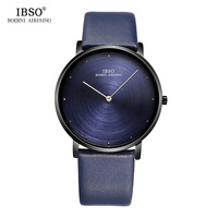 IBSO 7MM Ultra Thin Mens Watches 2018 Exquisite Design Dial Genuine Leather Strap Blue Quartz Watch