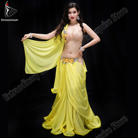 New Women Belly Dance Oriental Costume Sexy Performance Stage Handmade Bra Beads Skirt Long Wear Eastern Competition yellow