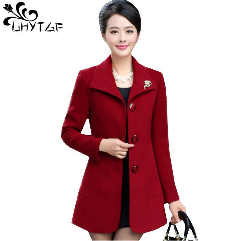 UHYTGF Women s Autumn Winter Woolen Coat Long Square collar Slim ladies Coats large size Long