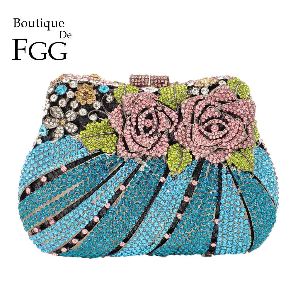 Boutique De FGG Multi Flower Rose Women Mini Crystal Evening Minaudiere Bag Metal Hardcase Wedding Party