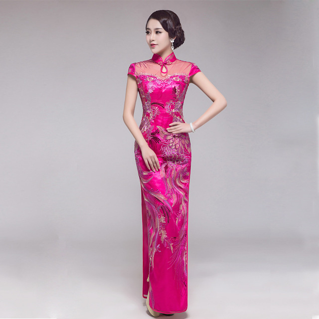 National Chinese Traditional Dress Wedding Qipao Long Purple Plus Size Cheongsam Oriental Style Dresses Women Phoenix