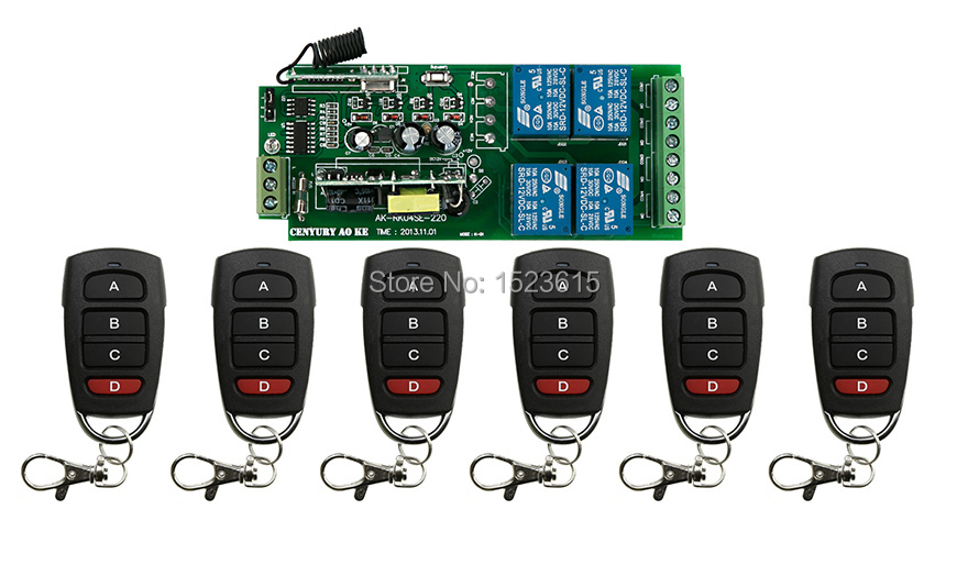 ФОТО AC110V 220V 4CH RF Wireless Remote Control System / Radio Switch remote switch 220v Learning code receiver +6 remote controller