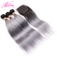 Pre Colored Ombre Grey Hair Bundles With Closure Straight Remy Brazilian Human Hair Bundles With Closure 4x4 Lace Ms Love