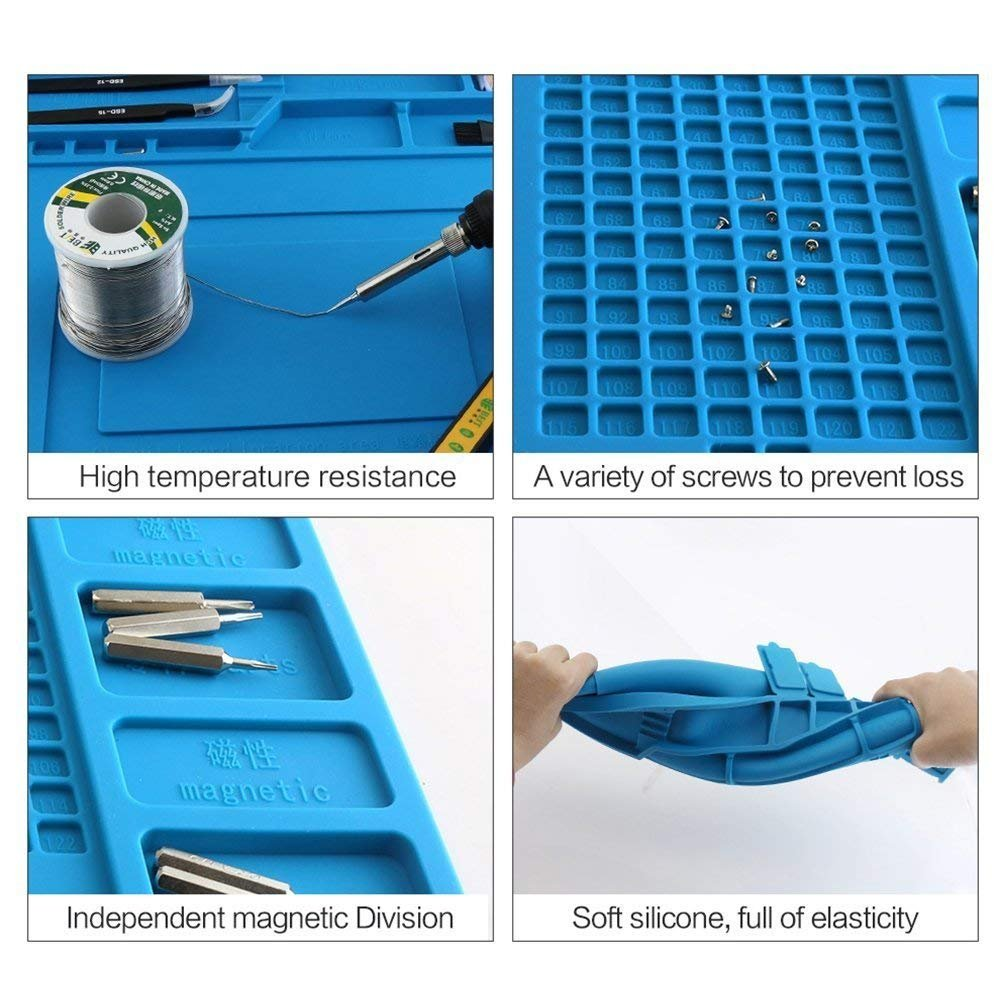 Image 5 - S 170 S 160 S 150 S 140 Heat Insulation Silicone Soldering Pad Mat Desk Maintenance Platform For Repair Station With Magnetic-in Electric Soldering Irons from Tools