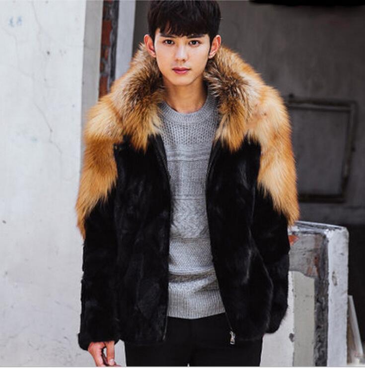 все цены на Autumn faux mink leather jacket mens winter thicken warm hooded fur leather coat men slim jackets jaqueta de couro black S - 5XL