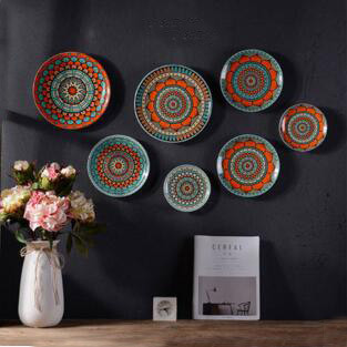 7pcs per handpaint ceramic plate home wall decor creative gifts interior wall mounted plates 10inch/ & home decor wall plates 8inch TV background plates kitchenroom ...