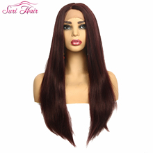 Suri Hair Long Straight Synthetic Wigs For Black Women Brazilian Lace Front Wig Remy Hair Lace Frontal Wig 3 Colors 130% Density