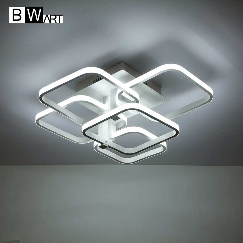 BWART white frames chandeliers LED modern ceiling chandelier lights for living room Lampara de techo indoor Lighting