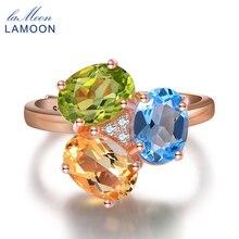 LAMOON- 3pcs 3ct Oval Yellow Citrine Green Peridot Blue Topaz 925 sterling-silver-jewelry Wedding Ring S925 LMRI002