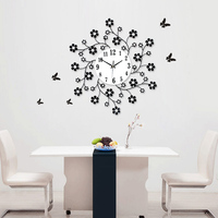 Luminousness Aesthetic Rustic Small Flower Decoration Clock Modern Personality Mute Wall Clock Large Clocks