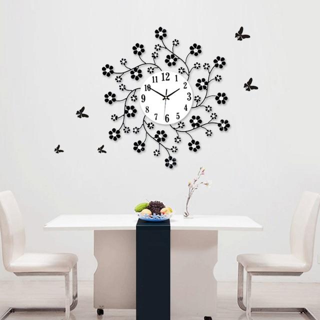 Luminousness aesthetic rustic small flower decoration clock modern ...