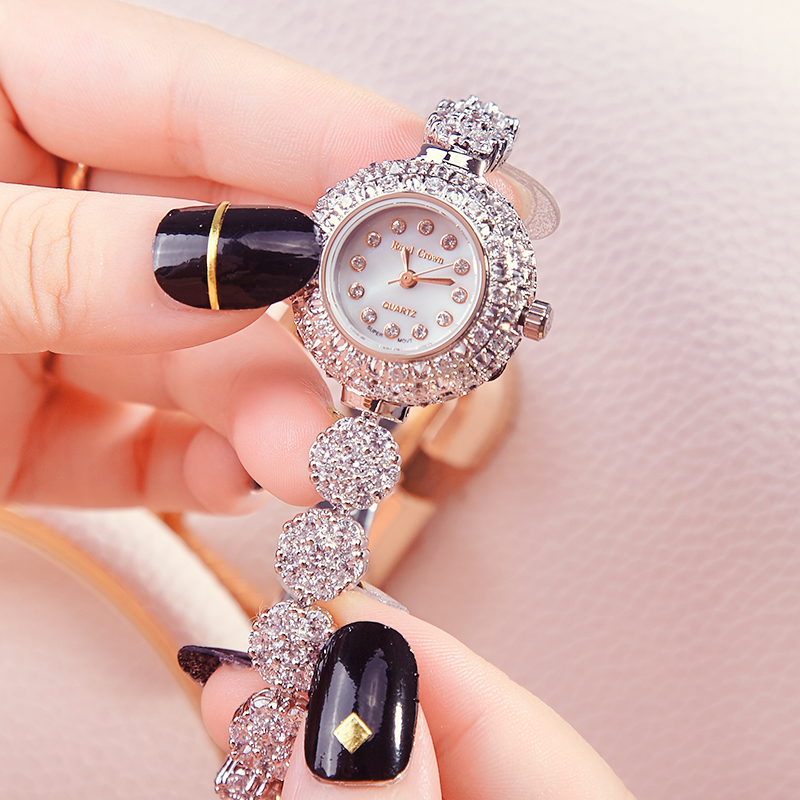 Luxury Jewelry Lady Women's Watch Fine Fashion Hours Mother of Pearl Bracelet Rhinestone Crystal Girl's Gift Royal Crown Box claw setting men s watch women s watch sapphire crystal fine clock stainless steel bracelet luxury lovers gift royal crown box