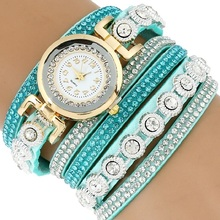 leather Fashion  Pu Leather Bracelet Watch Luxury Women Rhinestone Wrist Watch Casual Quartz Watches Relogio Feminino A744