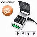 Palo c905w 4 slots de carregador universal display lcd inteligente carregador de bateria inteligente para aa/aaa nimh nicd baterias recarregáveis