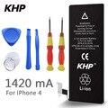 100% marca original bateria do telefone para iphone 4 khp real capacidade 1420 mah com baterias máquina kit de ferramentas móvel